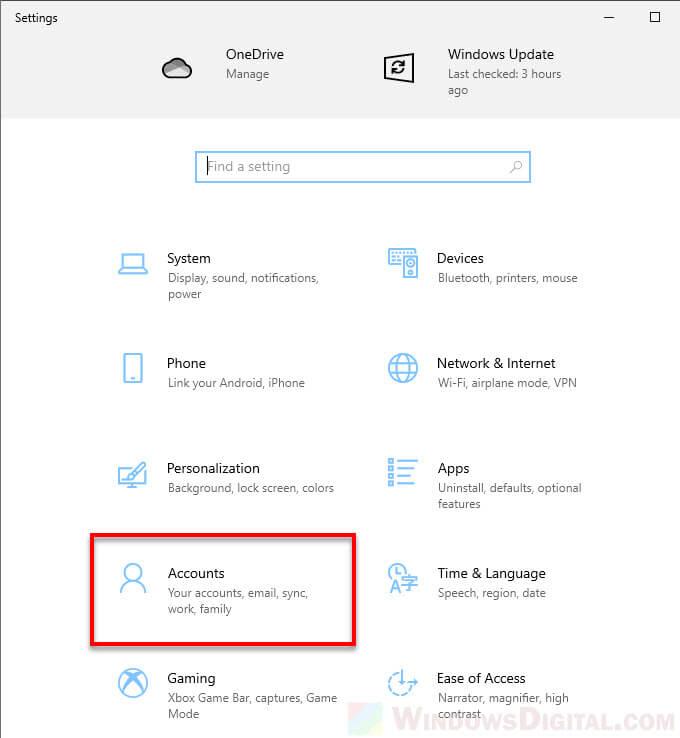 Windows 10 Settings Account Administrator Permission