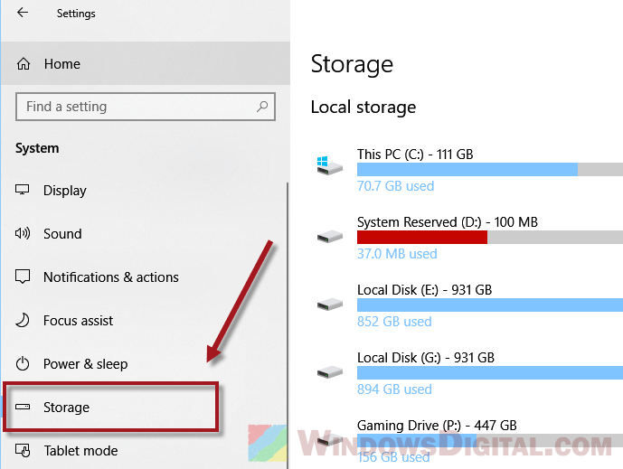 Windows 10 Storage Sense
