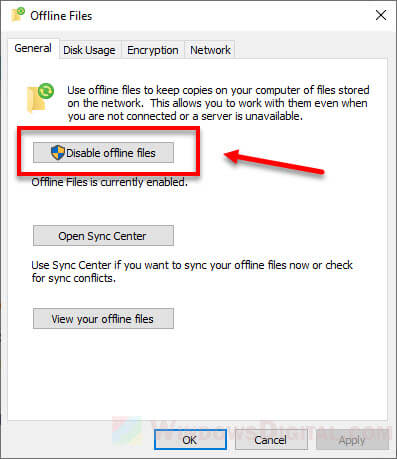Windows 10 Sync Center Turn Off