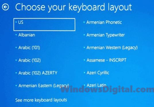 Windows 10 Update stuck choose your keyboard layout