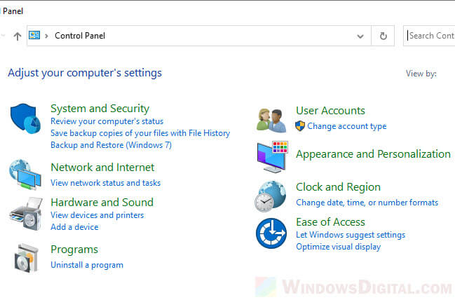 Windows 10 control panel to turn off sync center
