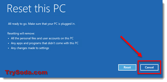 Windows 10 couldn't complete installation cancel reset