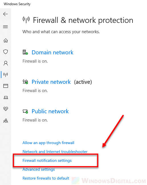 Windows 10 firewall notification settings