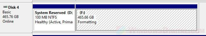 Windows 10 formatting SSD
