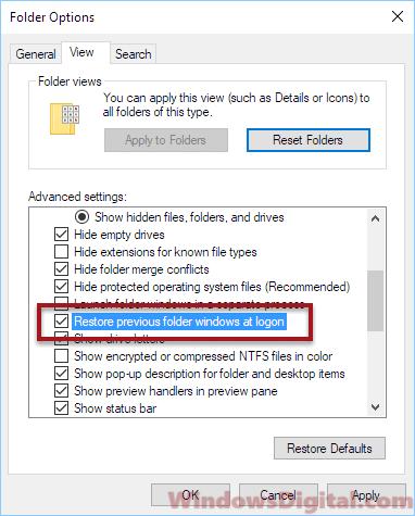 Windows 10 reopen windows after restart