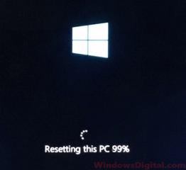 Windows 10 reset stuck at 1% 99% 64%