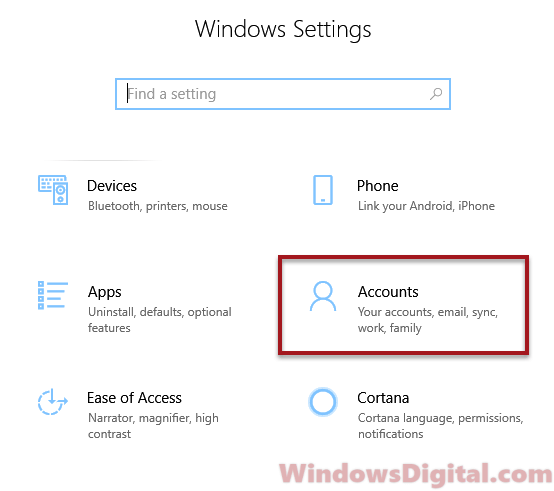 Windows 10 security questions account settings