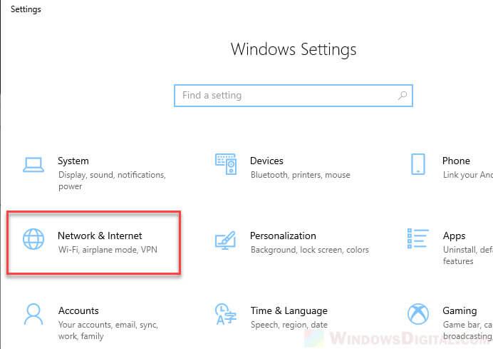 Windows 10 settings Network Internet