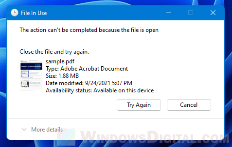 Windows 11 File in Use This action can't be completed