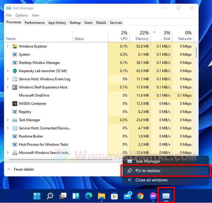 Windows 11 Open Task Manager Quickly Pin to Taskbar