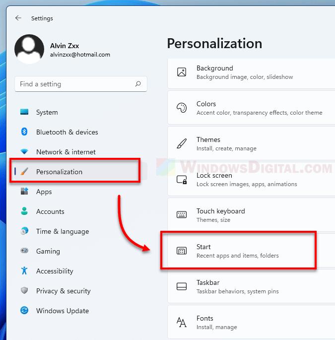 Windows 11 Personalization Start Menu Settings