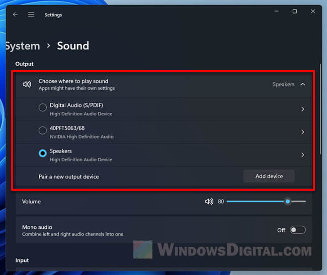 Windows 11 Sound settings switch output input audio devices