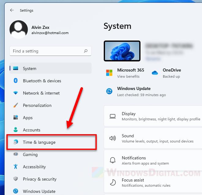 Windows 11 Time and Language