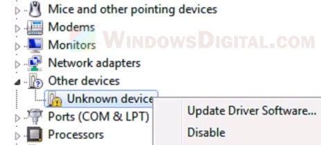 Windows 11 Unknown Device Update driver
