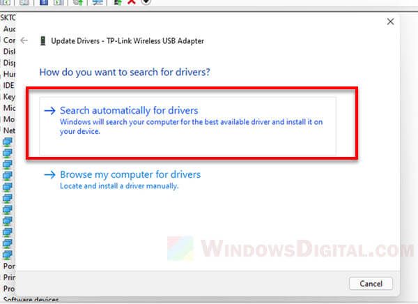 Windows 11 search automatically for drivers online