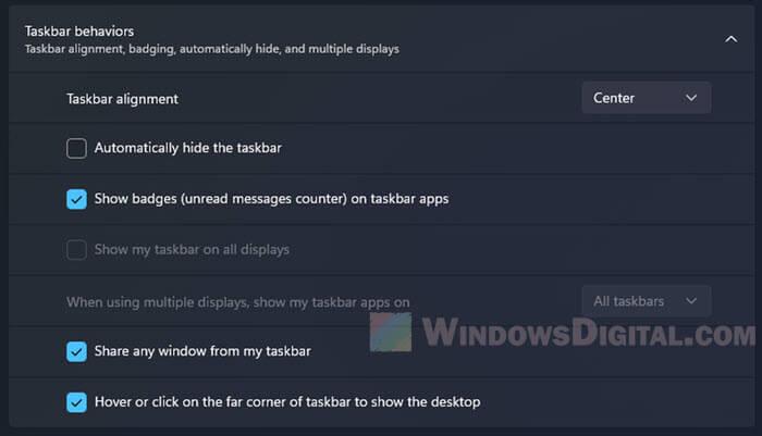 Windows 11 taskbar behaviors settings