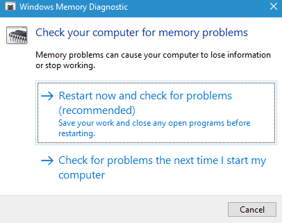 Windows Memory Diagnostic Windows 10