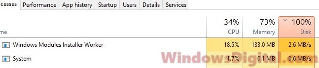 Windows Modules Installer Worker High CPU Disk Usage Windows 10