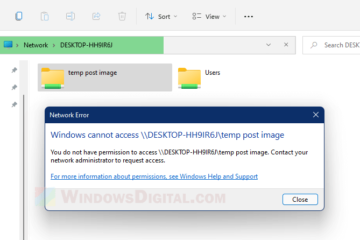 Windows cannot access shared folder You do not have permission 11 10