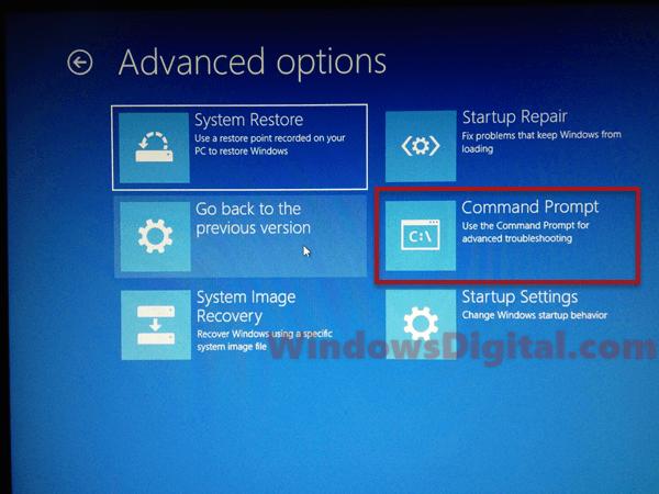 Windows rollback loop command prompt