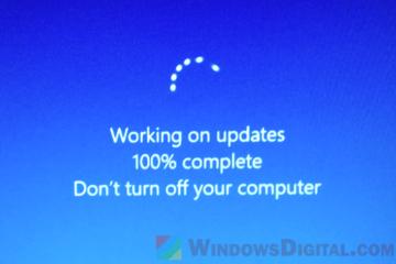 Working on Updates 100% Complete Stuck Windows 10