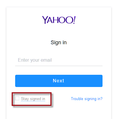 Yahoo Mail login stay signed in