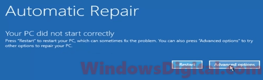 Your PC did not start correctly automatic startup repair