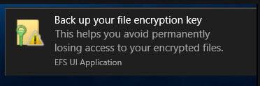 back up file encryption key in Windows 10