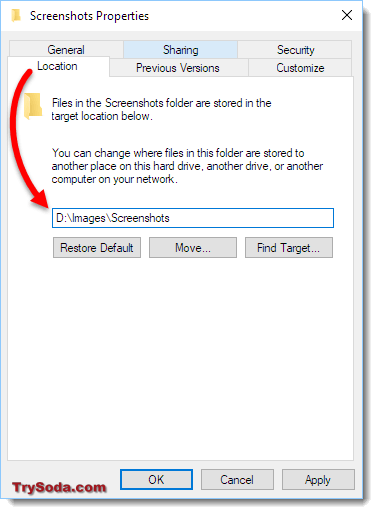 change save location screenshot windows 10
