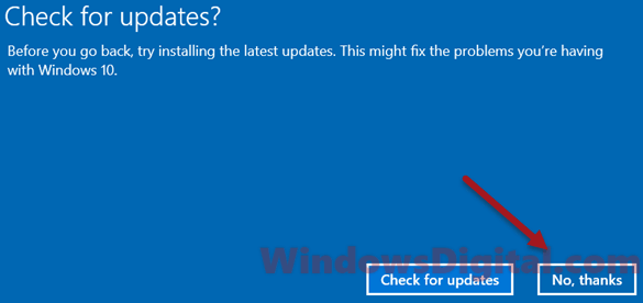 check for updates in rollback windows 10
