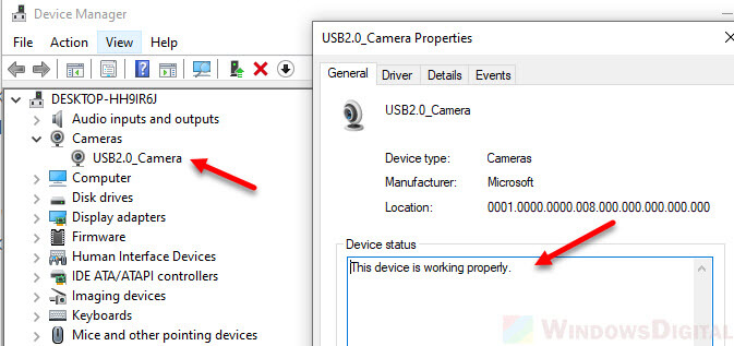 check if camera is working windows 10