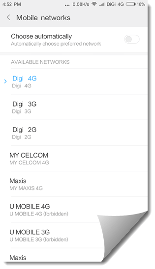 choose mobile network automatically or manually