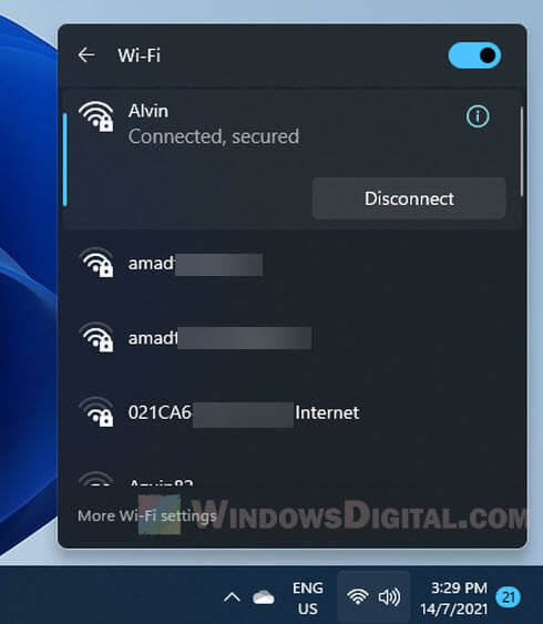 connect to a WiFi network in Windows 11