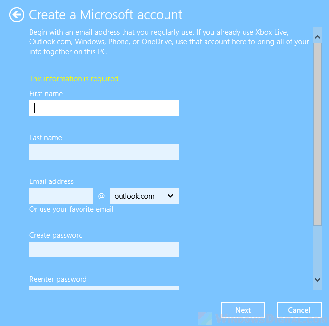 create a new Microsoft account for Windows 10