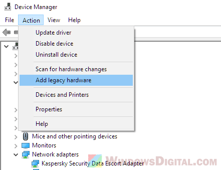 device manager add legacy hardware intel hd graphics