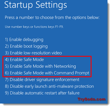 enable safe mode windows 10 with networking