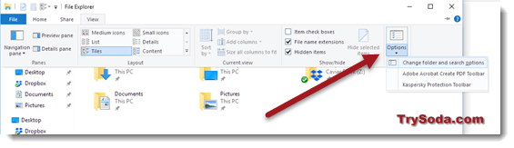 file explorer change folder and search option