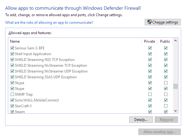 firewall add skype to exception windows 10