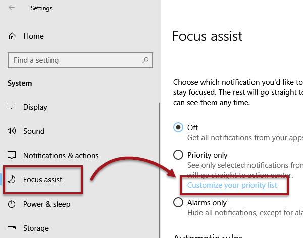 focus assist priority list