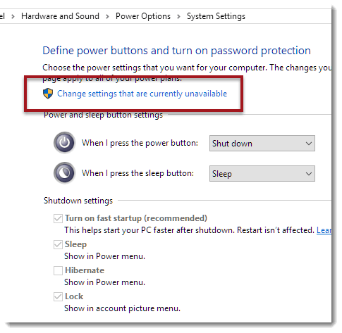 hibernate gray out in power option settings