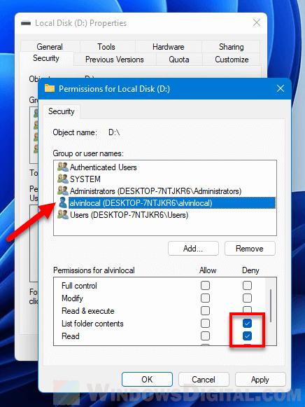 hide drive for specific user Windows 11