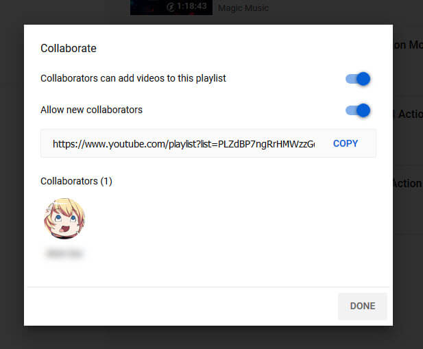 how to add new collaborator to playlist YouTube