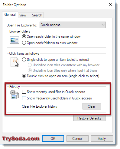 how to disable recent files in windows 10