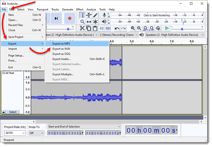 how to record audio and save as mp3 wav ogg