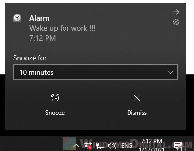 how to snooze or dismiss alarms in Windows 10