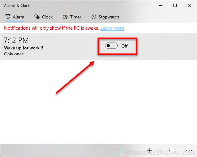 how to turn off alarms in Windows 10