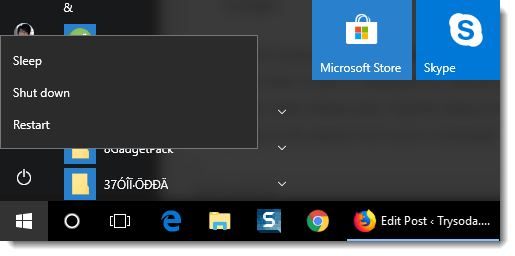 hybrid sleep hibernate shutdown windows 10