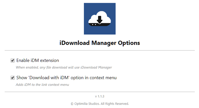 iDownload Manager extension options Chrome