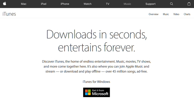 iTunes free download for Windows 10 64 bit via Microsoft Store
