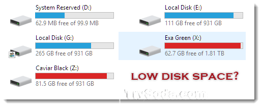 low disk space storage sense